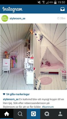 Kattvind Attic Bedrooms, Girls Bedroom, Attic Loft, Studio Apt, Attic Renovation, Attic Spaces, Cozy Corner, Girl Decor, Tiny House Design