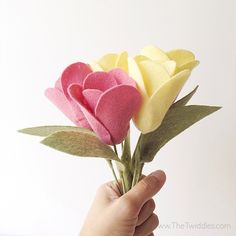 Tulip Felt Flower Bouquet - 6ct. Give that special person a lovely handmade felt flower bouquet that will last year-round.