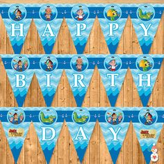 Jake and the Neverland Pirates Printable Banner Blue Chevron - Neverland Pirates Birthday Party Banner -- JNLP Banner