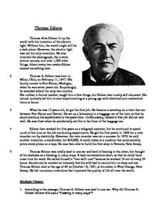 Thomas Edison's Birthday is February - Thomas Edison Informational Text Test Prep with teacher and student versions (Elementary School)