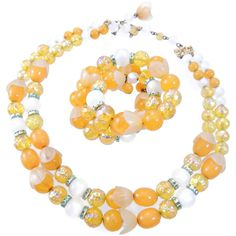 Hobe Beaded Necklace Bracelet Set Yellow Multi Strand