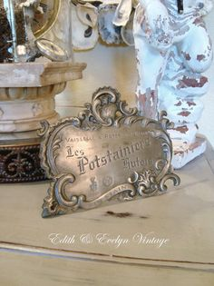 Vintage French Advertising Plaque Sign Pewter by edithandevelyn on Etsy