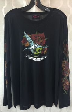 Torrid Plus Size 1X Womens Long Sleeve Black Mesh Shirt Tattoo Rock & Roll Skull #Torrid #Meshshirt