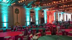 Teal, turquoise and orange event lighting and accent lighting.