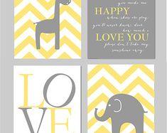 """Jaune et gris pépinière vous sont mon soleil éléphant girafe amour Chevron imprime - Art pour chambre de bébé - Set de quatre 8 """"x 10» imprime"""