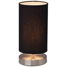 CLARIE - stolová lampa - chróm+textil - čierna - 255mm Table Lamp, Shades, Lighting, Vintage, Medium, Home Decor, Black, Homemade Home Decor, Light Fixtures
