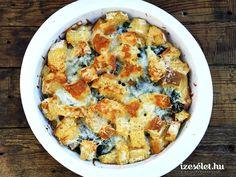 Kiadós reggeli, amihez szikkadt kenyér, spenót, tej és tojás kell. Gnocchi, Ricotta, Quiche, Cauliflower, Macaroni And Cheese, Tej, Dinner, Vegetables, Breakfast