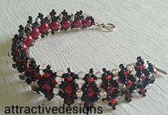 Weaved bracelet  with Crystal matt  Renaissance pearls seed beads