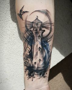 Discover recipes, home ideas, style inspiration and other ideas to try. Daddy Tattoos, 12 Tattoos, Future Tattoos, Body Art Tattoos, Light Tattoo, Dark Tattoo, Light House Tattoo, Ship Tattoo Sleeves, Sleeve Tattoos