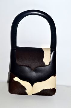 Art Mex Black Leather Pony Hair Scuptural Handbag - Quirky Finds Vintage - $145
