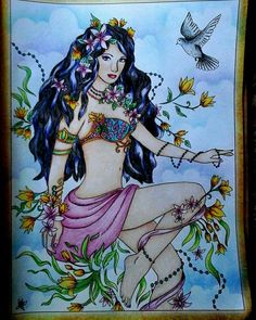 Colorist Ivana Bartáková pencils maped, pastel mungyo Goddess Coloring Book. Grayscale & line art illustrations available on Amazon http://www.amazon.com/dp/1542704944