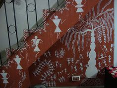 This painting is known as warli art. Done by my brother in my living room and on the staircase. Worli Painting, Art Paintings, Geometric Painting, Gold Watercolor, Madhubani Painting, Mural Wall Art, Tribal Art, Stone Art, Indian Art