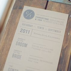 50 Kraft Ceremony Programs For Weddings Custom By Woodandgrain 75 00 Products I Love Pinterest Programming And Wedding
