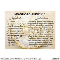 Shop Grandma's Apple Pie Day Recipe Card created by TimefortheHolidays. Personalize it with photos & text or purchase as is! Pumpkin Pie Recipe Card, Pumpkin Pie Recipes, Apple Recipes, Recipe For Apple Pie, Pumpkin Pies, Strawberry Recipes, Old Recipes, Vintage Recipes, Baking Recipes