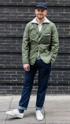 Oliver in Suit Jacket in Japanese cotton/nylon, Zip Sweat in sand marl, Aston Pant in indigo summer denim, Novesta on the feet. Stylish Jackets, Work Jackets, Look Fashion, Timeless Fashion, Workwear Fashion, Mens Fashion, Boy Outfits, Fashion Outfits, Suit Jacket
