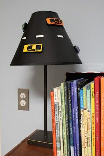 maybe some type of hanging lamp shade. Boys Car Bedroom, Baby Bedroom, Baby Boy Rooms, E Room, Kids Room, Bedroom Themes, Bedroom Ideas, Hot Wheels, Race Car Room