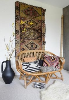 comfortable rattan couch carpet as walldecoration