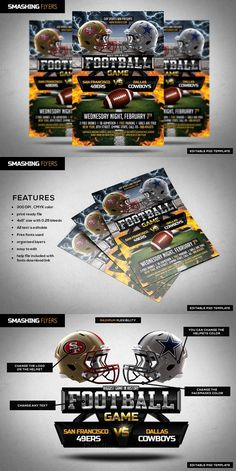 American Football Flyer Template. Flyer Templates. $9.00
