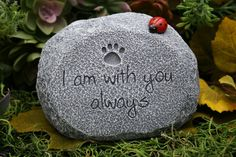 "Pet Memorial Stone  ""I Am With You Always"" - Cat or Dog Grave Marker with Paw Print on Etsy, $39.99"