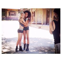 Hugs  @kaylynslevin & @genneyawalton behind the scenes for CK with @alexkruk || #californiakisses #ckgirl #dancewear #bts