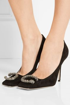 Gucci - Dionysus Embellished Suede Pumps - Black - IT