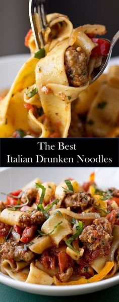 Special Foods And Drinks Are Ready To Accompany You ! Pot Pasta, Pasta Dishes, Italian Drunken Noodles, Ramen, Italian Dishes, Italian Drinks, Noodle Recipes, Main Dishes, Dinner Recipes