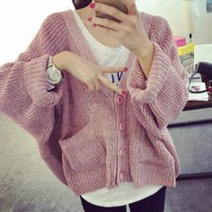 Hot Spring Autumn Women Ladies Knitted Cardigan Fashion Loose Casual Knitwear All Match Batwing Sleeve Comfy Pockets Jersey Coat
