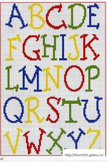 Colorful and Stylized Alphabet chart for cross stitch or other craft using charted designs Crochet Alphabet, Crochet Letters, Alphabet Charts, Embroidery Alphabet, Cross Stitch Letters, Cross Stitch Baby, Cross Stitch Charts, Cross Stitch Designs, Stitch Patterns