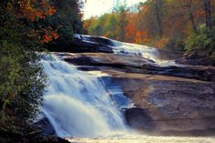 Triple Falls in the fall - at DuPont State Forest in the North Carolina mountains
