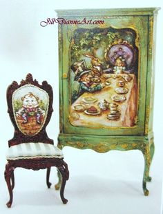 Alice in Wonderland Mad Tea Party - Dollhouse Cupboard - hand-painted by Jill Dianne - Dollhouse Miniatures Chalk Paint Furniture, Hand Painted Furniture, Antique Paint, Or Antique, Wooden Cupboard, Bunny Painting, Alice Tea Party, Cupboard Design, Victorian Dolls