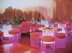 1970's neon pink + orange interior