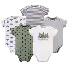 Touched by Nature offers soft organic cotton clothing for the gentlest touch on sensitive and delicate baby skin. Our organic bodysuits feature adorable prints, embroideries, stripes and solids and provide a comfortable base layer that's great for pairing with pants, shorts, or even wearing under outfits. Our bodysuits are comfortable and cozy for all-day, everyday wear for your little one. Our bodysuits are an essential part of baby's wardrobe. Touched by Nature Baby Boy Organic Cotton Bodysuit Happy Camper Trailer, Happy Campers, Kids Clothes Boys, Natural Baby, Kids Outfits, Cute Baby Boy Outfits, Baby Kids, Organic Cotton, Bodysuits