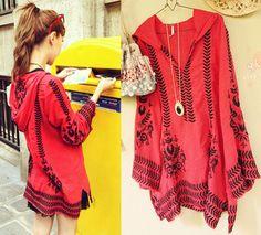 红色重工雪纺衫刺绣上衣 -易买中国,专业淘宝代购,承诺永久免服务费.