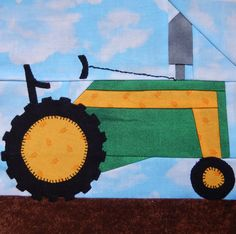 Tractor paper pieced PDF vehicle pattern; farm equipment foundation pieced block pattern; baby boy's or girl's or kid's quilt pattern