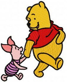 Winnie the Pooh and Piglet best friends 2 machine embroidery design