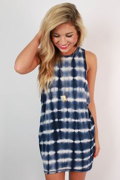 Back To My Roots Tie Dye Tank Dress in Blue