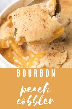 This easy bourbon peach cobbler is made with lightly spiced peaches mixed with bourbon and baked under a buttery biscuit top. #aclassictwist #peachcobbler #recipe