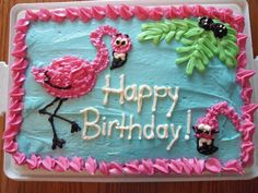 Flamingo cake for Mom's birthday.  Caitlin did an awesome job!
