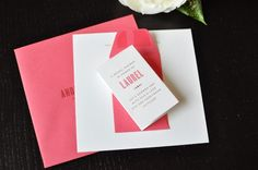 I thought I'd keep the paper love going today by sharing these sweet pink bridal shower invitations that Kathleen of Twig & Thistle designed for her sister Laurel's recent bridal shower. The shower was a girly affair with dessert, cocktailsRead Bridal Shower Invitations, Wedding Stationery, Invites, Event Invitations, Handmade Invitations, Diy Valentine's Treat Bags, Pink Envelopes, Colored Envelopes, Gold Bridal Showers