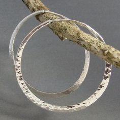 Large hammered sterling silver hoop earrings 2 inch  by 2TrickPony, $59.00