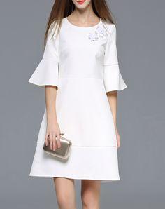 #AdoreWe wei guo yue White Beaded Bell Sleeve A Line Mini Dress - AdoreWe.com