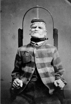 Mental health in the past: A patient in a restraint chair in the West Riding Lunatic Asylum in Yorkshire, 1869.