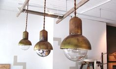 """Bell Jar Pendant Lights: RemodelistaPRODUCT: BELL JAR PENDANT LIGHTS DESIGNER: DOUG NEWTON RETAILER: NIGHTWOOD BRAND: NIGHTWOOD  by Doug Newton for Nightwood  4″³ d x 5 """" h;  brass and copper; 40 watt max  comes with plug/no canopy  2-4 week lead time: $200 ea"""