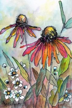 how to draw fairies Watercolor Painting Techniques, Pen And Watercolor, Watercolor Illustration, Watercolor Flowers, Painting & Drawing, Watercolor Landscape, Simple Watercolor, Tattoo Watercolor, Watercolor Animals