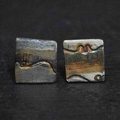 Rolled & Patinated Sterling Silver Studs