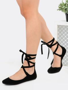 fc8c3487254 Shop Tie Up Round Toe Ballet Flats BLACK online. SheIn offers Tie Up Round  Toe Ballet Flats BLACK   more to fit your fashionable needs.