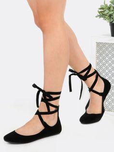2598d9aea113 Tie Up Round Toe Ballet Flats BLACK Black Ballet Shoes