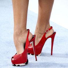 Shoespie Cranberry Peep Toe Slingback Platform Heels