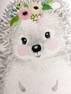 Watercolor hedgehog in grey tones Woodland nursery Animal