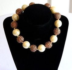 Girls Bronze & Off White Boutique Necklace Holiday Chunky Bubble Bead Jewelry